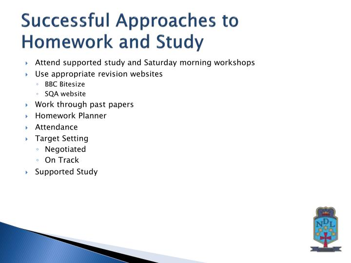 Successful Approaches to Homework and Study
