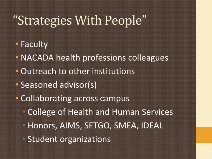 """Strategies With People"""