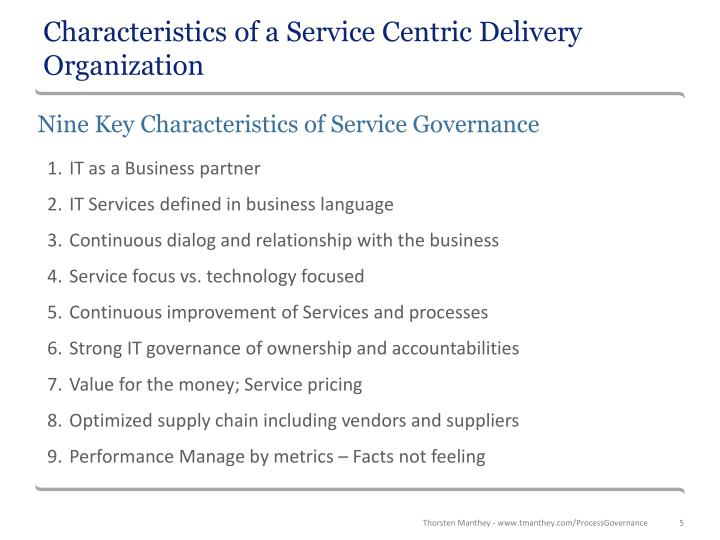 Characteristics of a Service Centric Delivery Organization