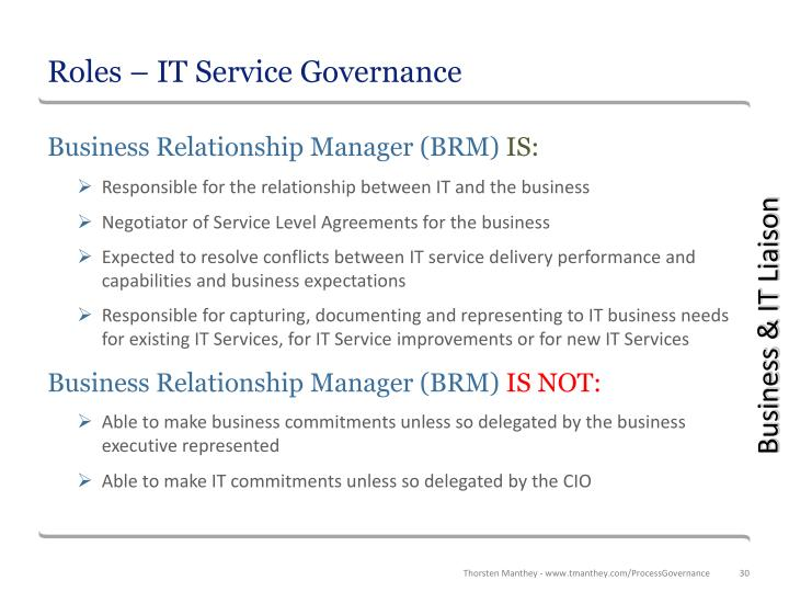 Roles – IT Service Governance