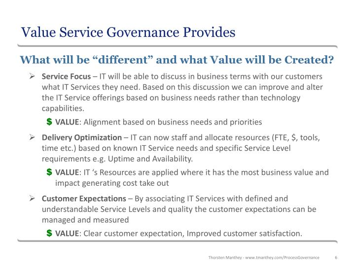 Value Service Governance Provides