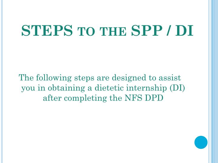 STEPS to the SPP / DI
