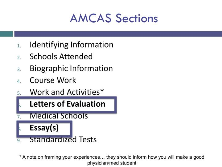 AMCAS Sections
