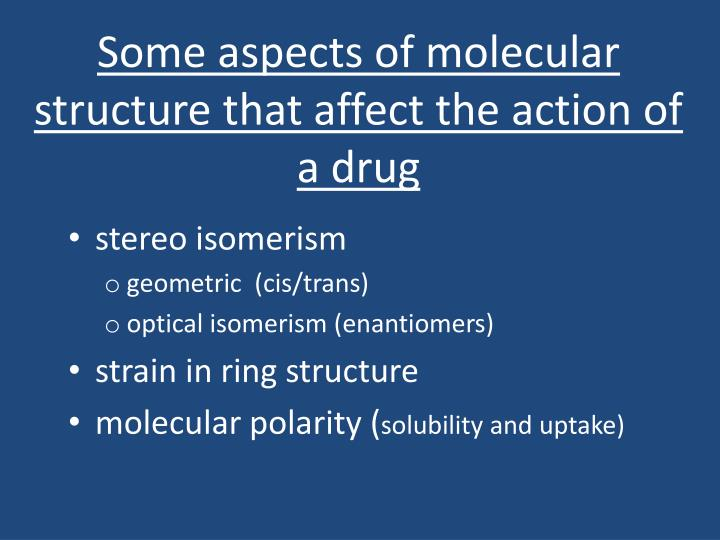 Some aspects of molecular structure that affect the action of a drug