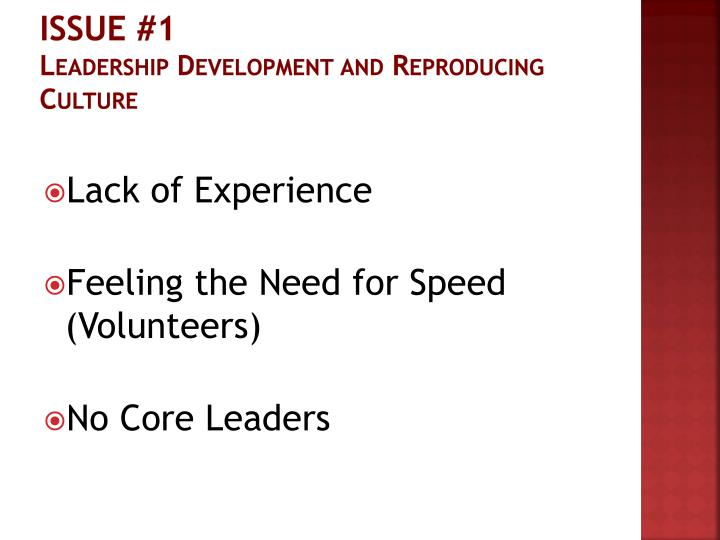 Issue 1 leadership development and reproducing culture