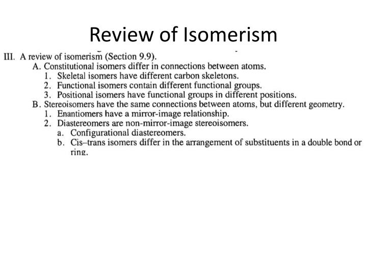 Review of Isomerism