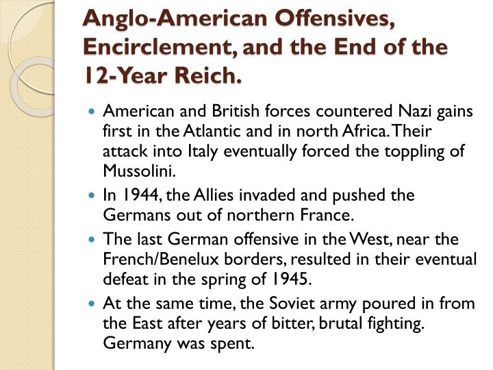 Anglo-American Offensives, Encirclement, and the End of the 12-Year Reich.