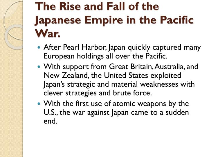 The Rise and Fall of the Japanese Empire in the Pacific War.