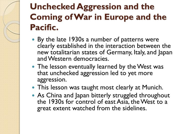 Unchecked Aggression and the Coming of War in Europe and the Pacific.