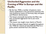 unchecked aggression and the coming of war in europe and the pacific