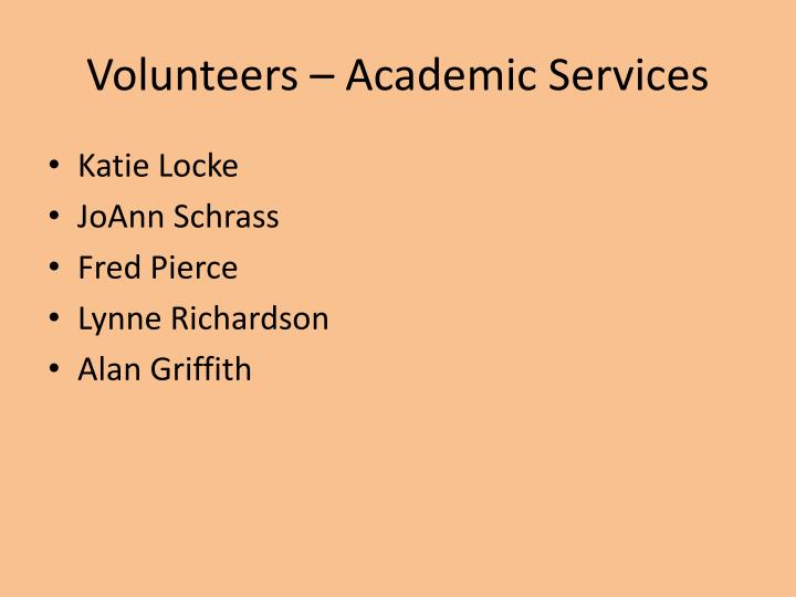 Volunteers – Academic Services