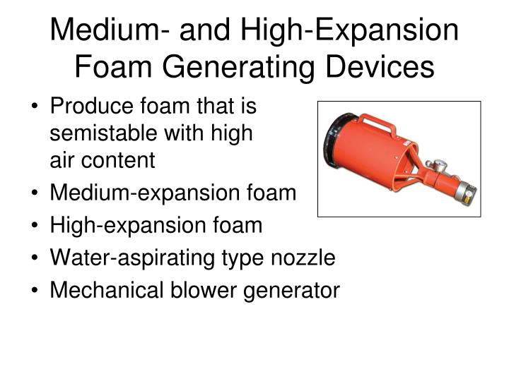 Medium- and High-Expansion Foam Generating Devices