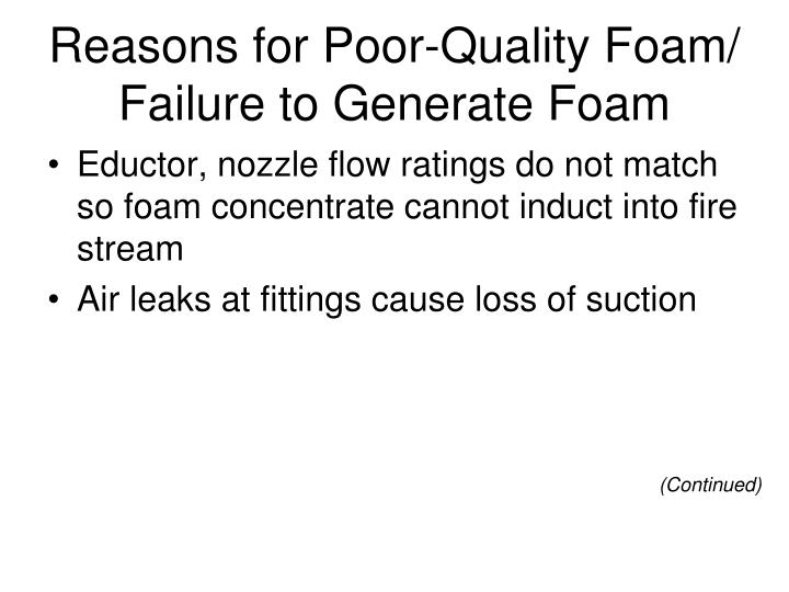 Reasons for Poor-Quality Foam/