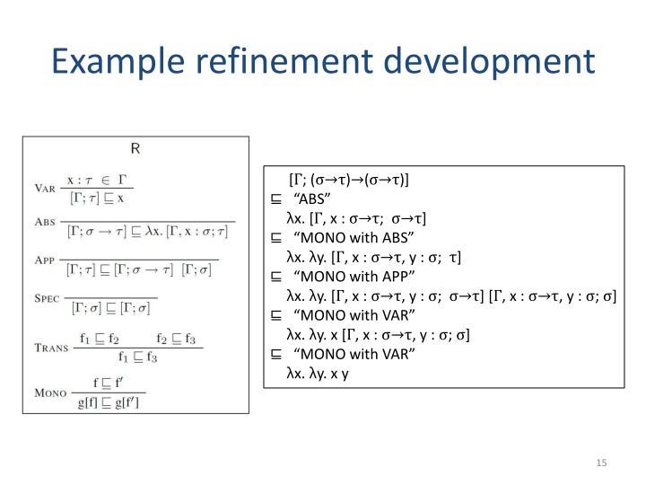 Example refinement development