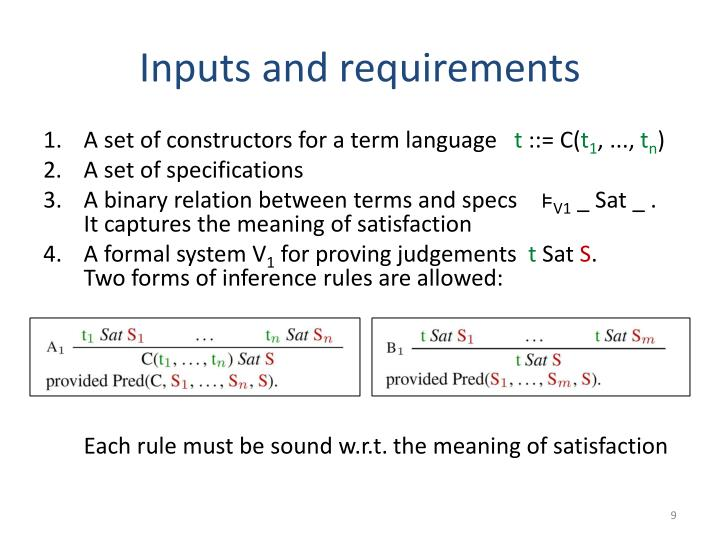 Inputs and requirements