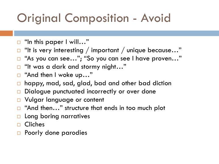 Original Composition - Avoid