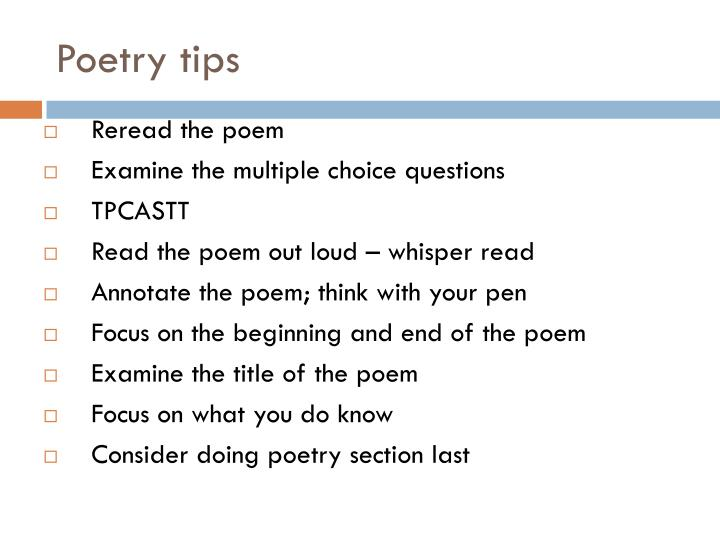 Poetry tips