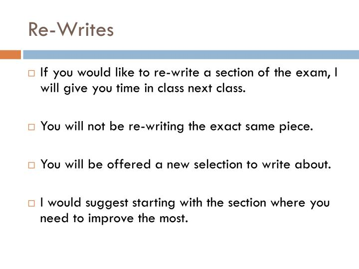 Re-Writes