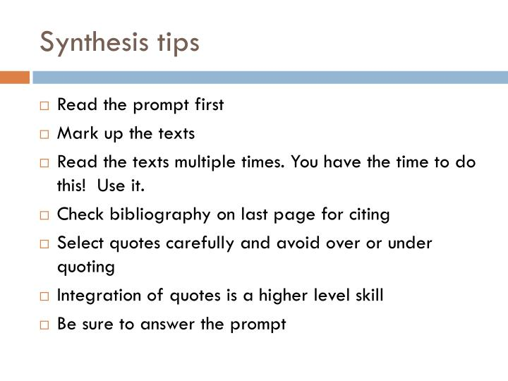 Synthesis tips