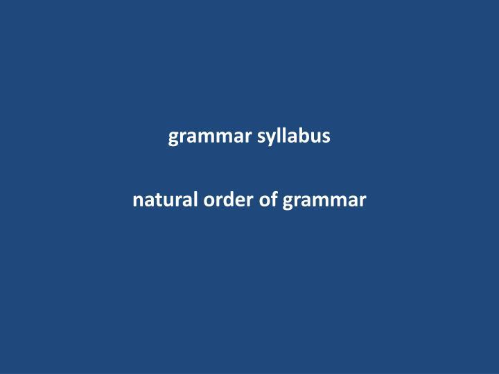 grammar syllabus