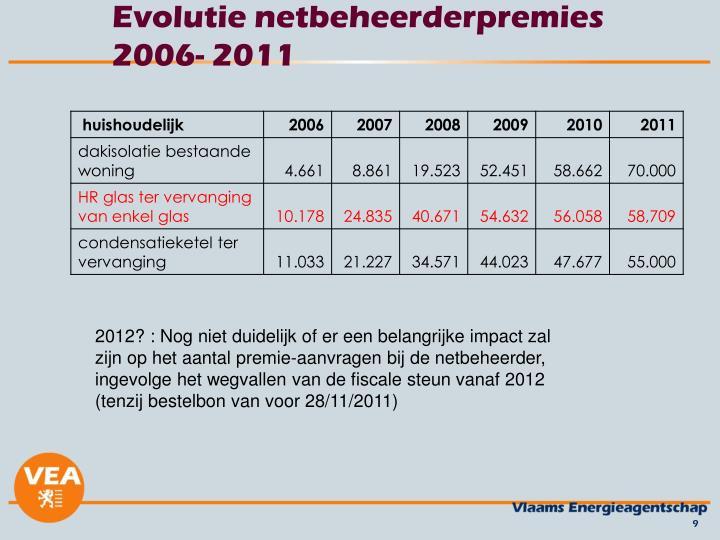 Evolutie netbeheerderpremies 2006- 2011