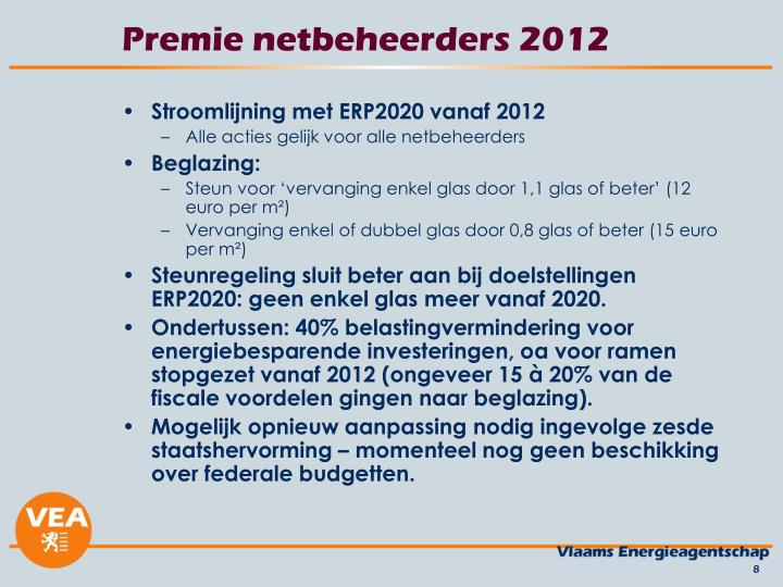 Premie netbeheerders 2012