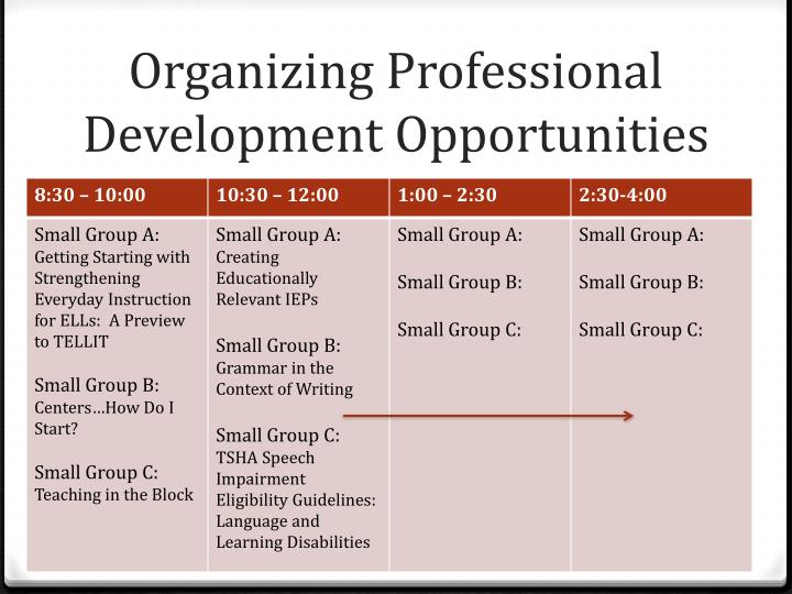 Organizing Professional Development Opportunities