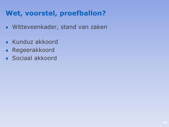 Wet, voorstel, proefballon?