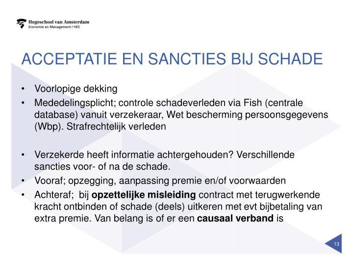 Acceptatie en sancties bij schade