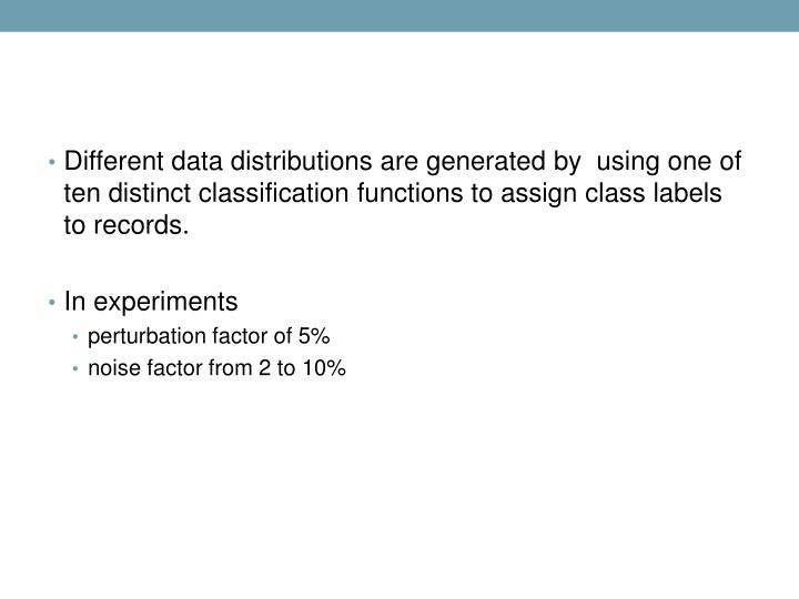 Different data distributions are generated by  using one of ten distinct classification functions to assign class labels to records.