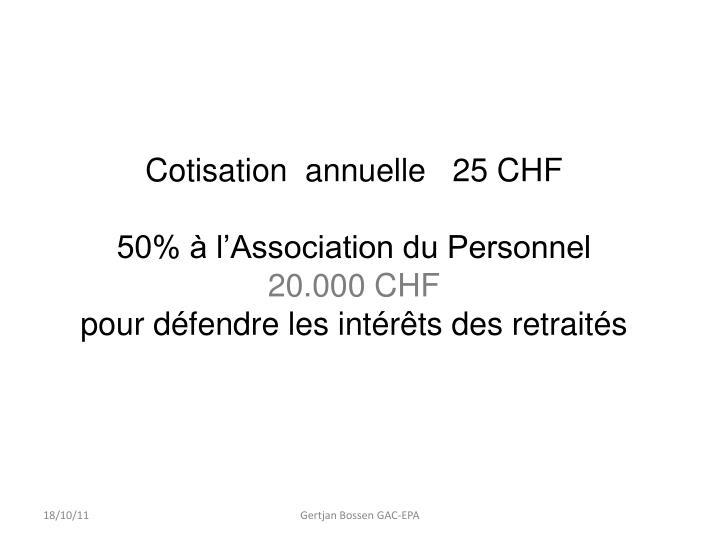 Cotisation  annuelle   25 CHF