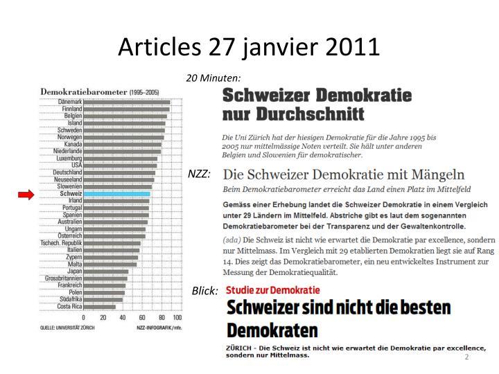 Articles 27 janvier 2011
