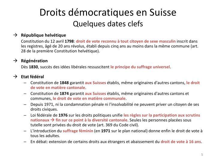 Droits démocratiques en Suisse