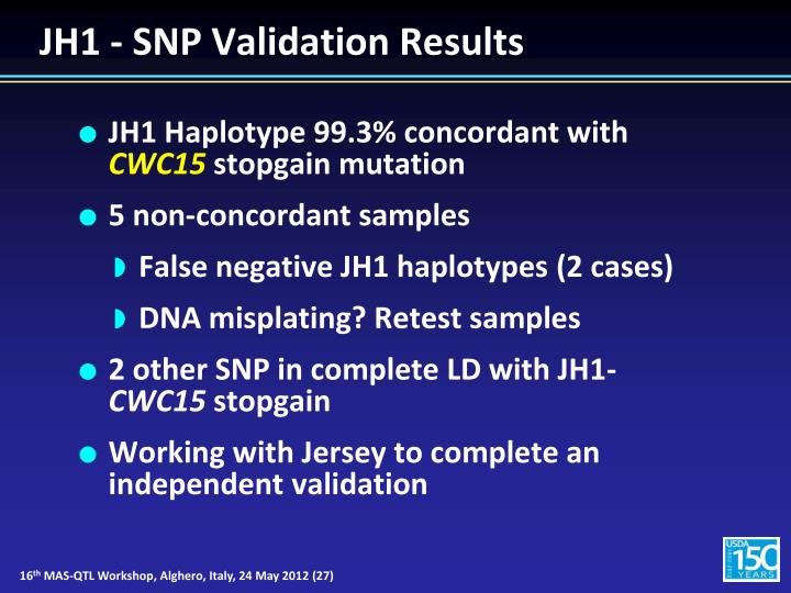 JH1 - SNP Validation Results