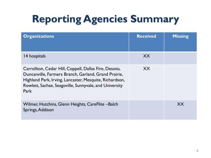Reporting Agencies Summary