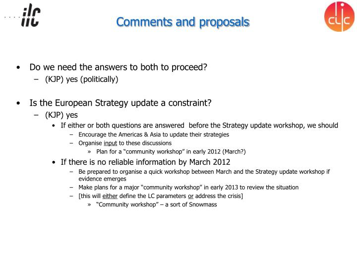 Comments and proposals