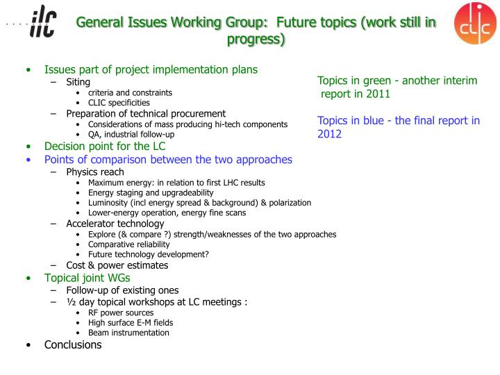 General Issues Working Group: