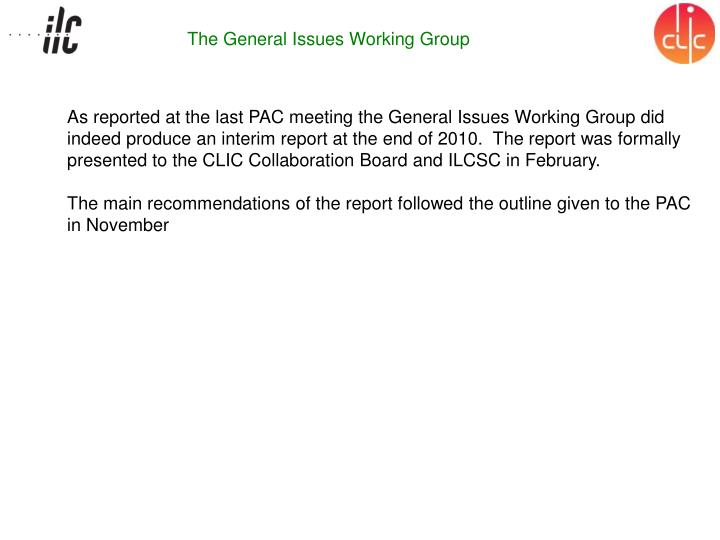 The General Issues Working Group