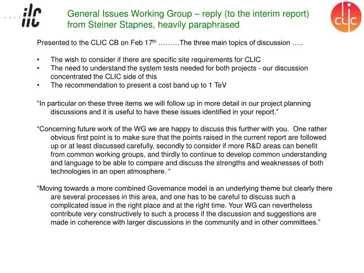 General Issues Working Group – reply (to the interim report) from Steiner