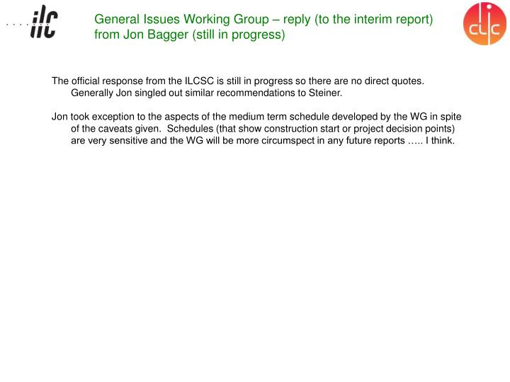 General Issues Working Group – reply (to the interim report) from Jon Bagger (still in progress)