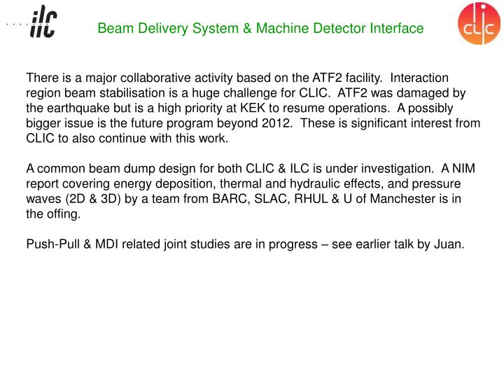 Beam Delivery System & Machine Detector Interface
