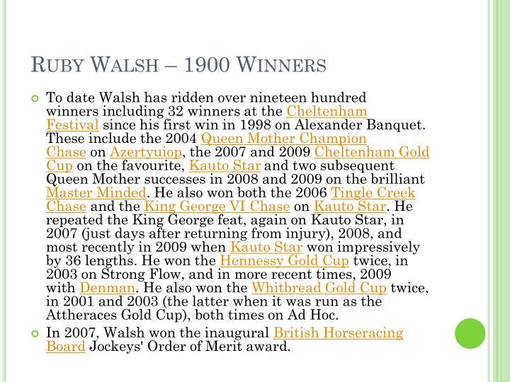 Ruby Walsh – 1900 Winners
