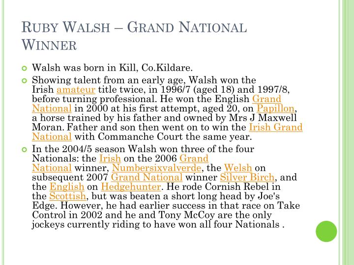 Ruby Walsh – Grand National Winner