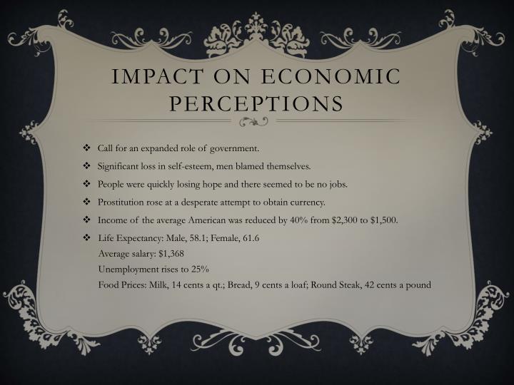 Impact on economic perceptions