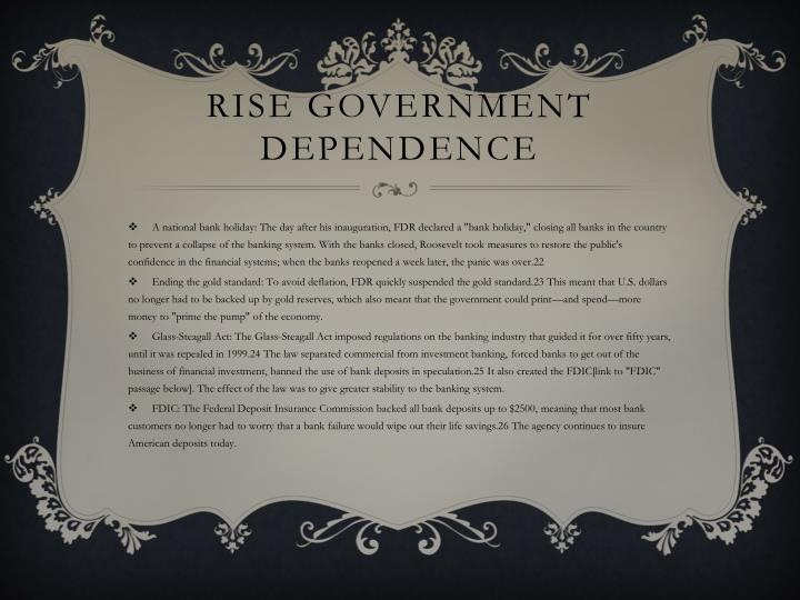 Rise government dependence