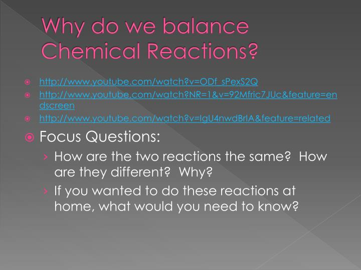 Why do we balance Chemical Reactions?