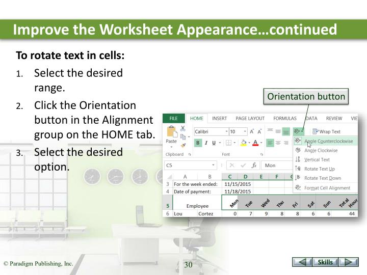 Improve the Worksheet