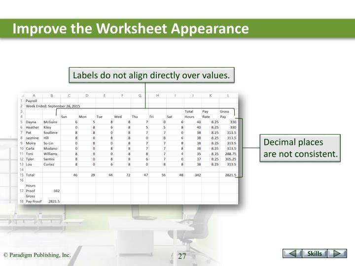 Improve the Worksheet Appearance