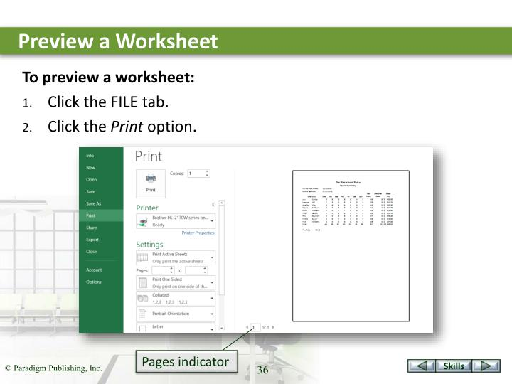 Preview a Worksheet