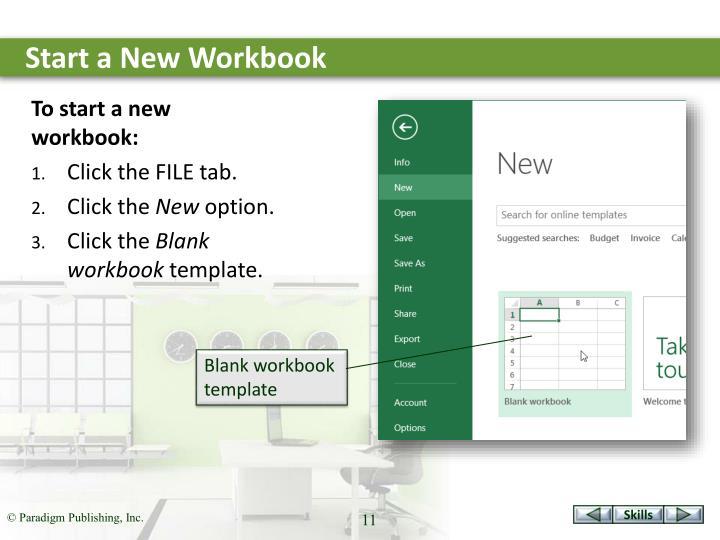 Start a New Workbook